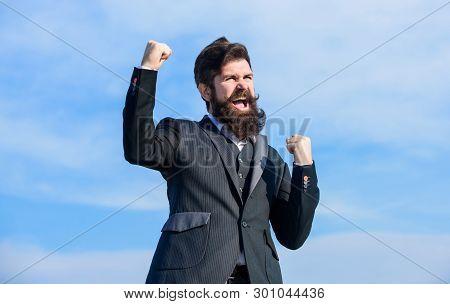 Celebrate Success. Hopeful And Confident About Future. Man Bearded Optimistic Businessman Wear Forma