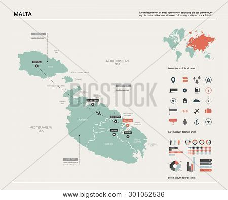 Vector Map Of Malta. Country Map With Division, Cities And Capital Valletta. Political Map,  World M