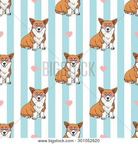 Seamless Pattern With Cute Sitting Pembroke Welsh Corgi Wearing Pink Heart Glasses On Light Blue And