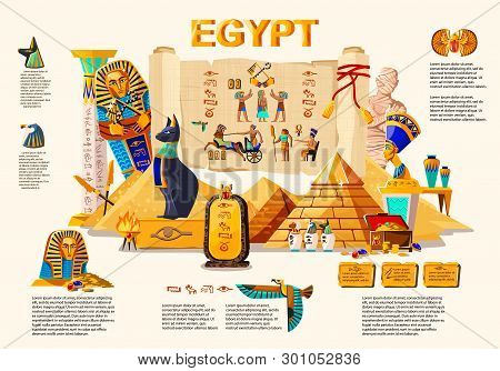Ancient Egypt Infographic Cartoon Vector Travel Concept. Papyrus Scroll With Hieroglyphs And Egyptia