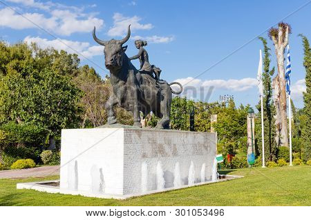 Peristeri, Greece - May 2: Statue Of The Abduction Of Europa On May 2, 2019 In Peristeri, Athens, Gr