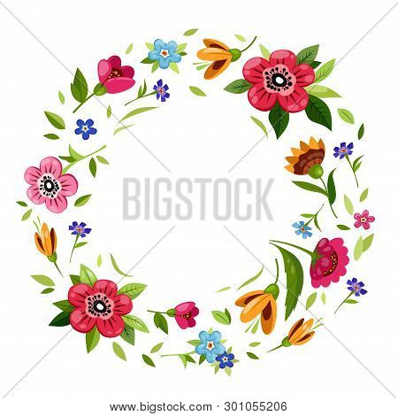 Round Flower Frame For Invitation, Greeting Card, T-shirt Design. Colorful Floral Wreath With Vector
