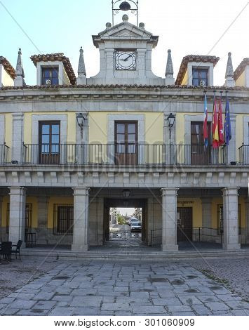 Brunete Town Hall Building at Porticoed main Square in Herreriano Style, Madrid, Spain poster