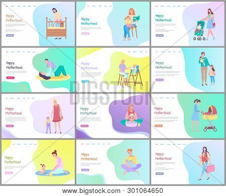 Happy Motherhood Vector, Woman With Baby Bathing Kid, Walking With Child In Perambulator, Reading Bo