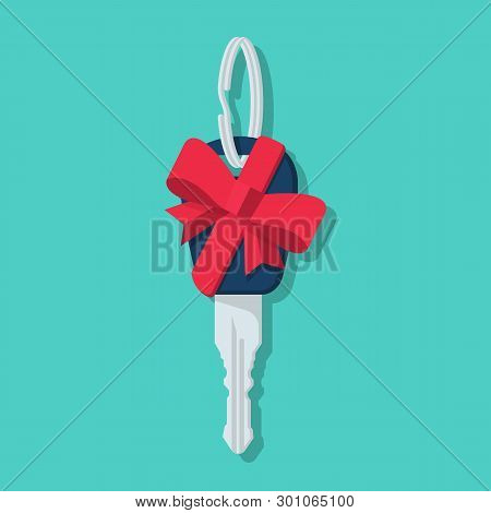 Car Key Gift. Auto Prize Flat Icon. Color Red Ribbon Bow. Present For The Holiday. Automotive Gift.
