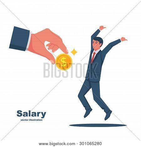 Salary Time Concept. Boss Holding Coin In Hand Gives Worker. Human Jumping From Happiness. Employer