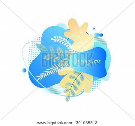 Springtime Vector, Branches With Foliage, Spring Blooming Floral Decoration Blue Isolated Banner Wit