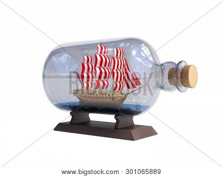 Ship In A Bottle 3d Render On White No Shadow