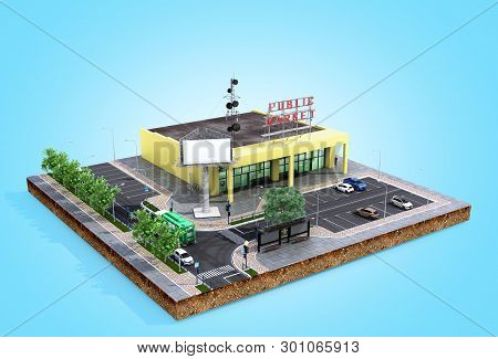 Piece Of Land Supermarket With Parking On The Ground 3d Render On Blue Gradient