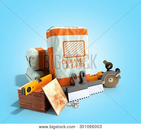 Tile Adhesive In The Package Ceramic Glue Tile Laying Tools 3d Render On Blue Gradient