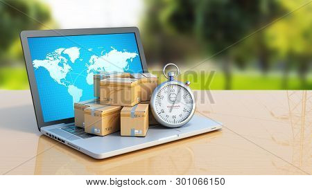 Box And Stopwatch Standing On A Laptop Concept Of Delivery 3d Render On Color Summer Background