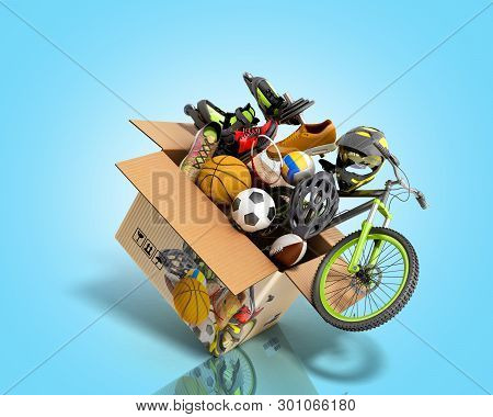 Concept Of Product Categories Sports Wear And Equipment Fly Out Of The Box 3d Render On Blue Gradien