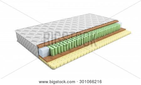 Mattress In The Cut 3d Render On White No Shadow