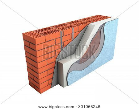 Layered Brick Wall Thermal Insulation Concept 3d Render On White Background No Shadow