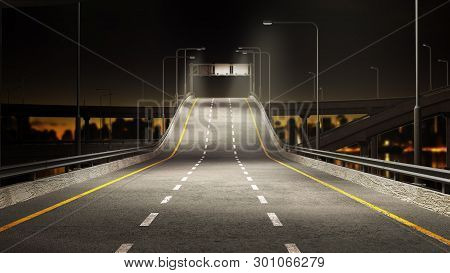 Nigt Road Freeway Travel Concept Route Direction 3d Render On City Landscape