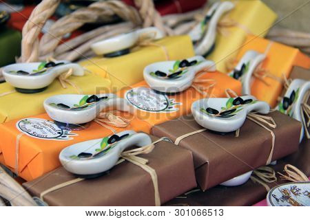 Crete, Greece - August 2013: Typical Greek Souvenirs On Tourist Street Market, Soap, Craftwork And H