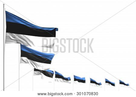 Nice Estonia Isolated Flags Placed Diagonal, Picture With Selective Focus And Place For Your Text -
