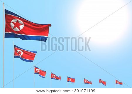 Beautiful Many North Korea Flags Placed Diagonal On Blue Sky With Place For Content - Any Occasion F