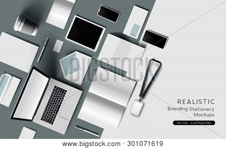 Realistic Top View Of Identity And Branding Stationary And Products. Mockup Template Vector Illustra
