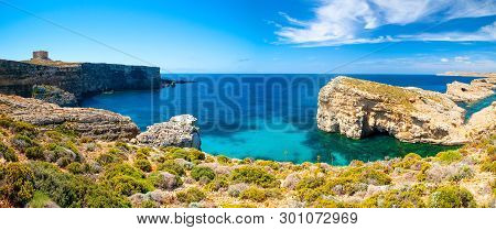 Blue Lagoon. Malta. Comino Island. Picturesque Landscape With Sea Bay On A Sunny Day. Panorama Of Ma