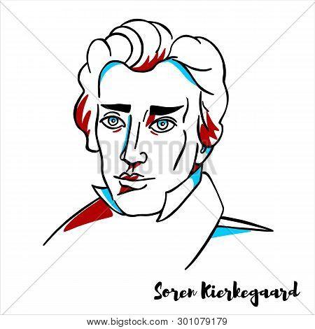 Soren Kierkegaard Engraved Vector Portrait With Ink Contours. Danish Philosopher, Theologian, Poet,