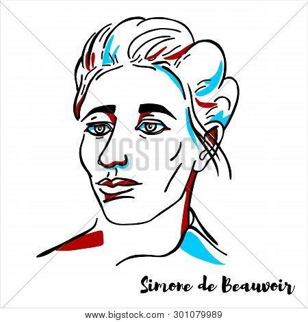 Russia, Moscow - March, 30, 2019: Simone De Beauvoir Engraved Vector Portrait With Ink Contours. Fre