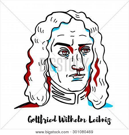 Gottfried Wilhelm Leibniz Engraved Vector Portrait With Ink Contours. German Polymath And Philosophe