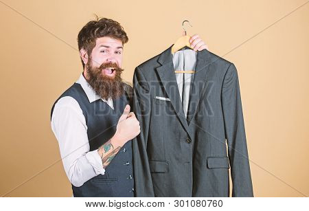 Fashion For Business People. Custom Made Suit. Man Bearded Fashion Couturier Tailor. Elegant Custom