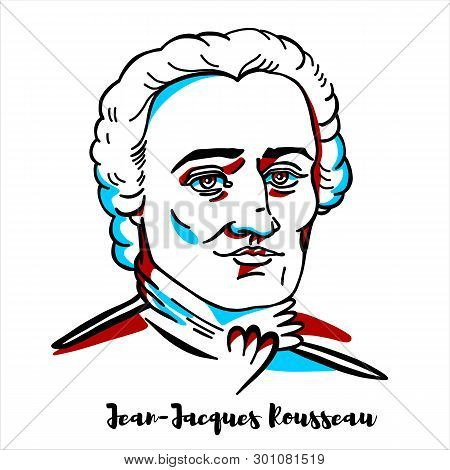 Jean-jacques Rousseau Engraved Vector Portrait With Ink Contours. Genevan Philosopher, Writer And Co