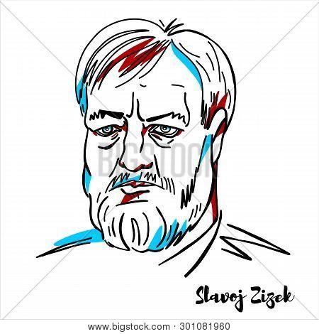 Russia, Moscow - March, 26, 2019: Slavoj Zizek Engraved Vector Portrait With Ink Contours. Slovenian