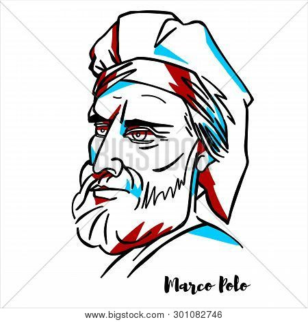 Marco Polo Engraved Vector Portrait With Ink Contours. Italian Merchant, Explorer, And Writer, Born
