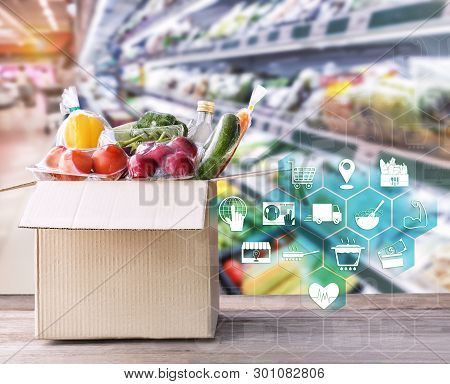 Online Grocery Concept. Shopping Order Online Ingredients Food For Cooking And Packages Box With Ico