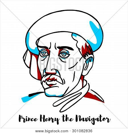 Prince Henry The Navigator Engraved Vector Portrait With Ink Contours. Portuguese Empire Maritime Di