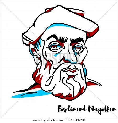 Ferdinand Magellan Engraved Vector Portrait With Ink Contours. Portuguese Explorer Who Organised The