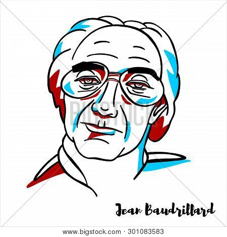 Russia, Moscow - March, 31, 2019: Jean Baudrillard Engraved Vector Portrait With Ink Contours.  Fren