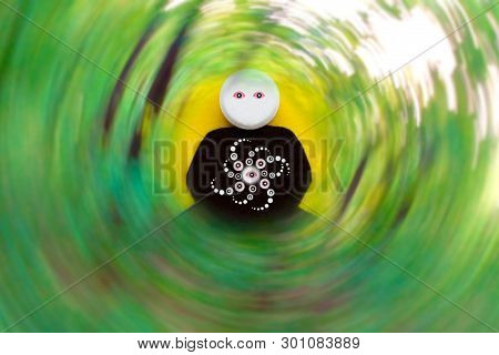 Lsd Trip Image Of A Pill With Eyes In The Lotus Position, Against The Background Of A Rotating Whirl