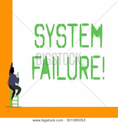 Word Writing Text System Failure. Business Concept For Occur Because Of A Hardware Failure Or A Soft