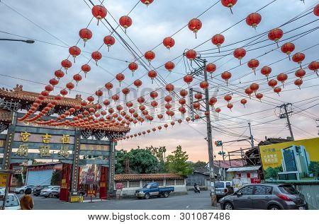 Nantou, Taiwan - FEB 8th, 2019: Puli Heng Ji Gong Matsu Temple with lantern over sky at Puli, Nantou, Taiwan, Asia