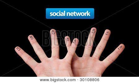 Happy group of finger smileys, social network theme