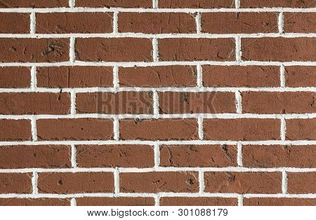 Clean Red Brickwall Background. Texture Of Clean Brickwall Surface.