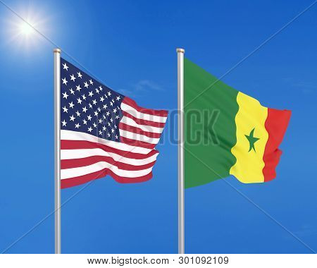 United States of America vs Senegal. Thick colored silky flags of America and Senegal. 3D illustration on sky background. - Illustration poster