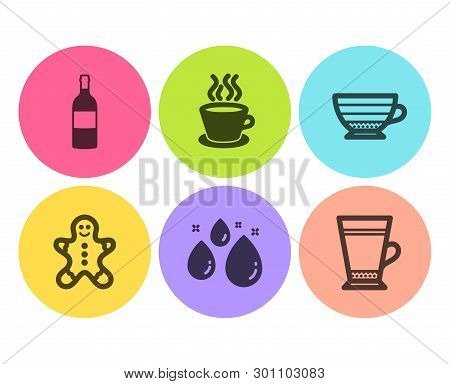 Wine Bottle, Gingerbread Man And Cappuccino Icons Simple Set. Water Drop, Tea Cup And Latte Signs. C