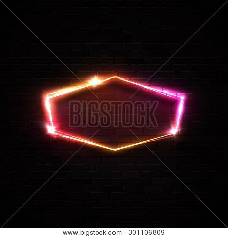 Bright Neon Signage On Black Brick Wall Background. Electric Wiring Border With Stars Sparkles Light