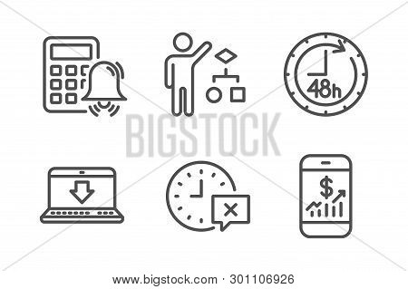 48 Hours, Algorithm And Time Icons Simple Set. Calculator Alarm, Internet Downloading And Mobile Fin