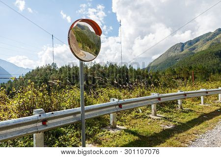 The Traffic Curve Mirror, Convex Mirror On The Road For Safety
