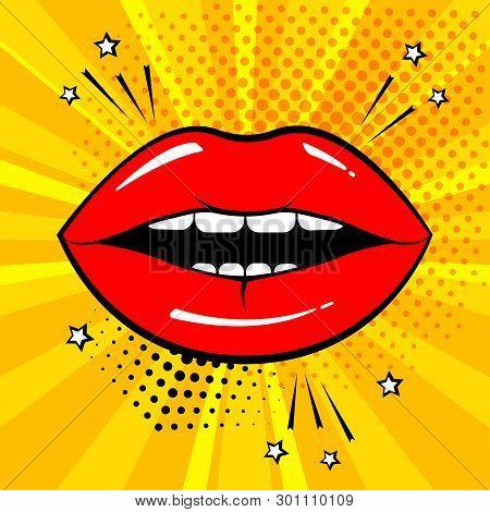 Red Lips On Orange Background In Pop Art Style. Vector Illustration