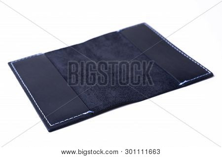Blue Handmade Leather Passport Cover Isolated On White Background. Stock Photo Of Luxury Businessman