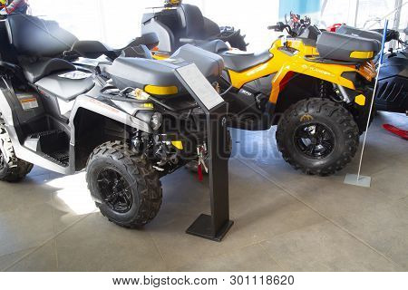 Syktyvkar, Komi/ Russia,march 29, 2019/new Atv Parked In The Store For Sale.
