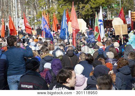 Syktyvkar, Komi/ Russia,april 7,2019/environmental And Political Rally In The City.
