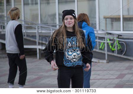 Syktyvkar,komi/russia,april 14,2019/portrait Of A Beautiful Girl On A City Street.